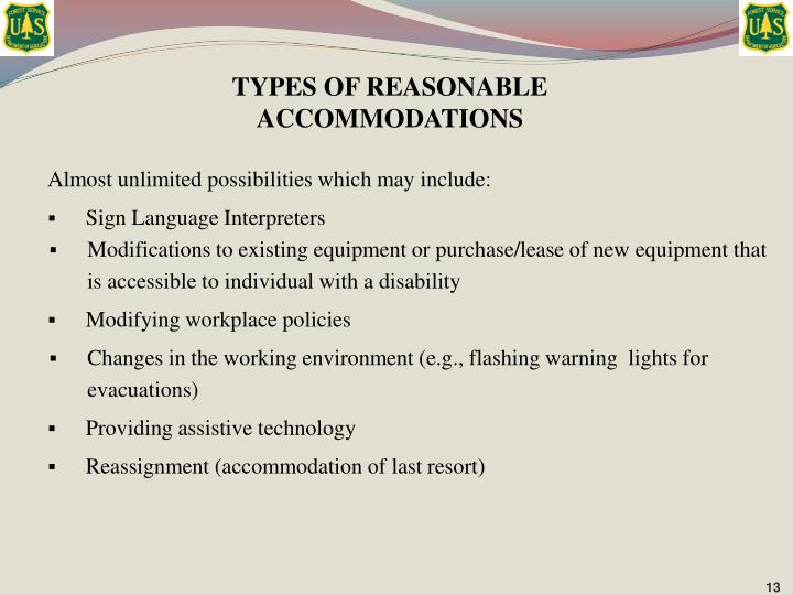 TYPES OF REASONABLE ACCOMMODATIONS