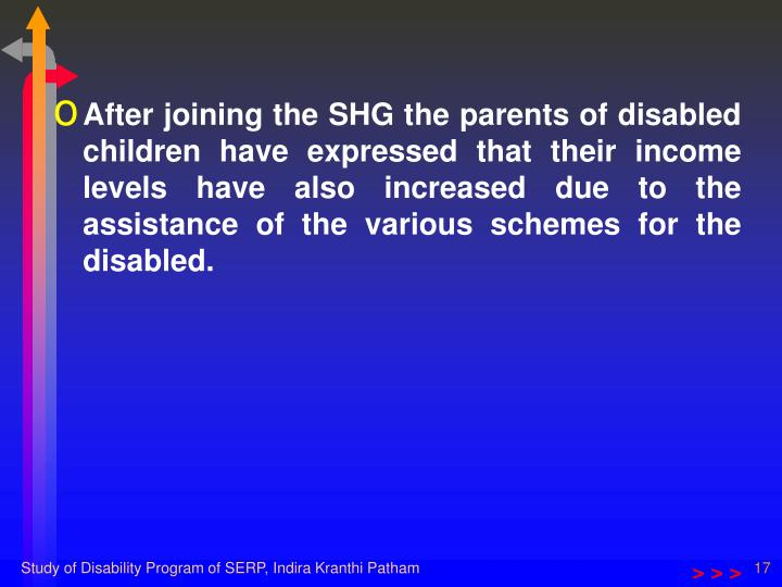 After joining the SHG the parents of disabled children have expressed that their income levels have also increased due to the assistance of the various schemes for the disabled.