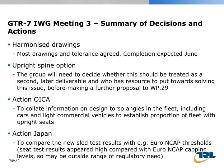 Gtr 7 iwg meeting 3 summary of decisions and actions
