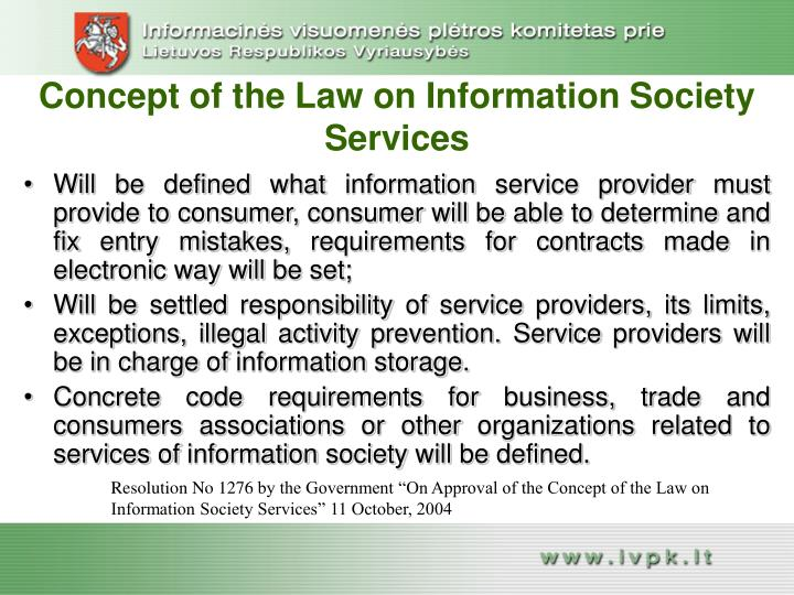 Concept of the Law on Information Society Services