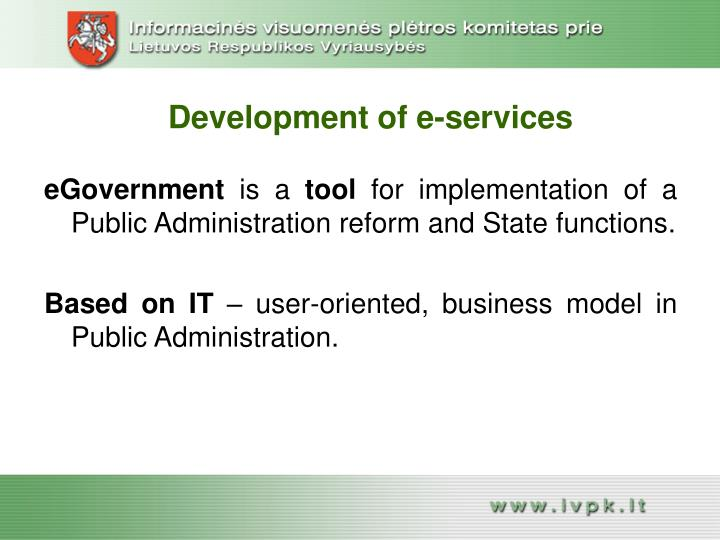 Development of e-services