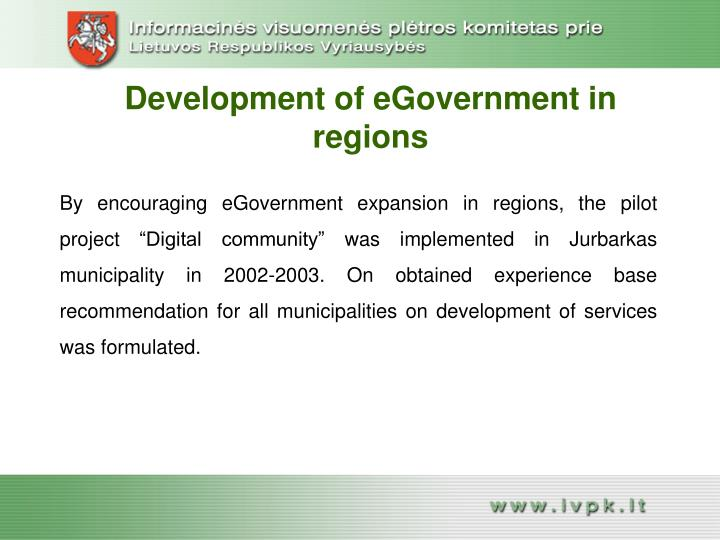 Development of eGovernment in regions