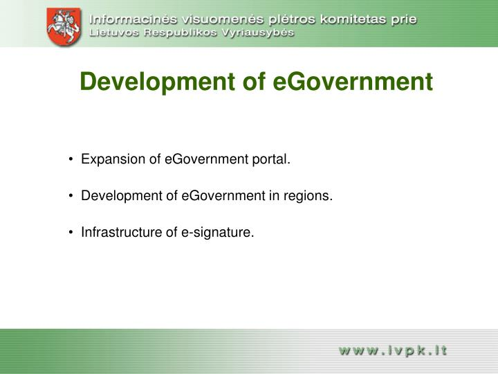 Development of eGovernment