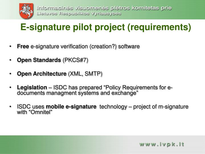 E-signature pilot project (requirements)