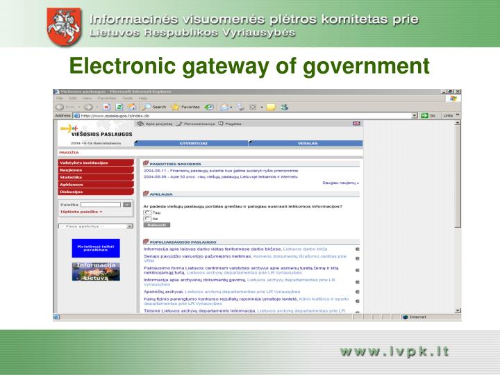 Electronic gateway of governme