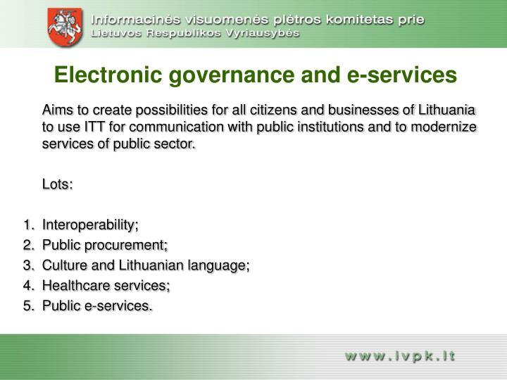 Electronic governance and e-services