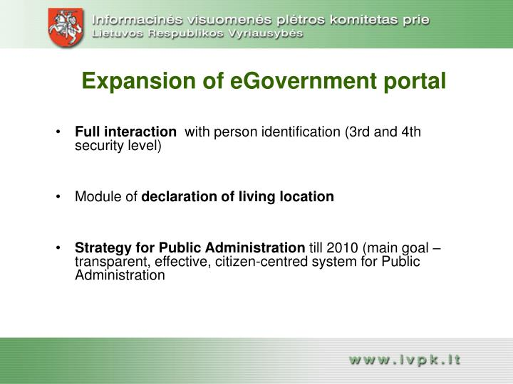Expansion of eGovernment portal