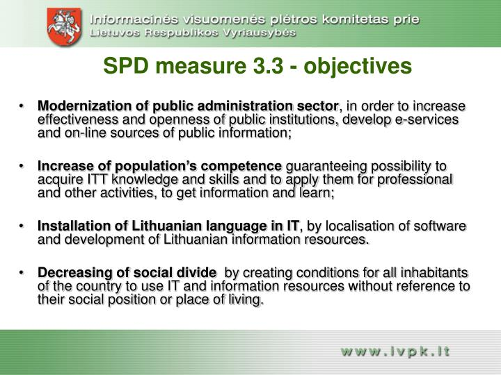 SPD measure 3.3 - objectives