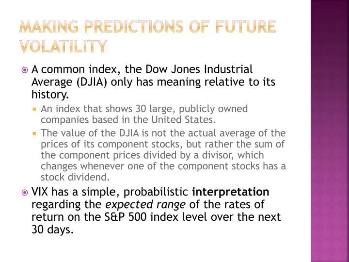 Making Predictions of Future Volatility