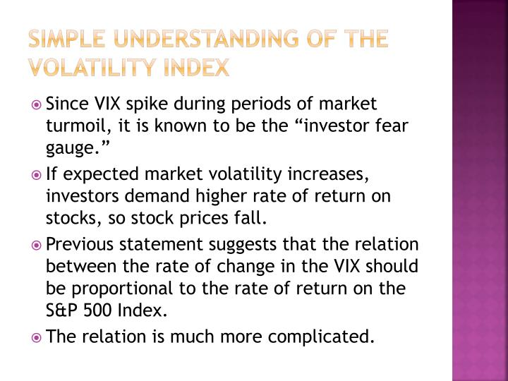 Simple understanding of the volatility index