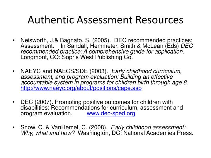 Authentic Assessment Resources