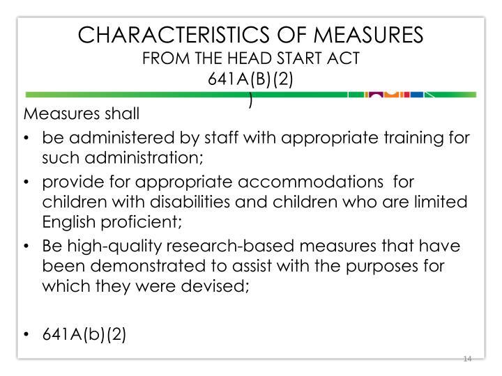 Characteristics of Measures