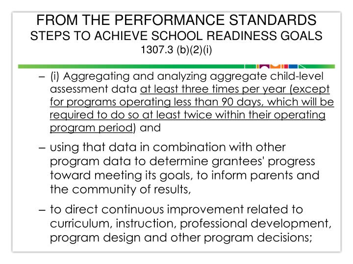 FROM THE PERFORMANCE STANDARDS