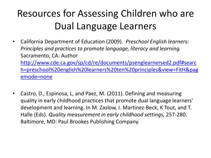 Resources for Assessing Children who are Dual Language Learners