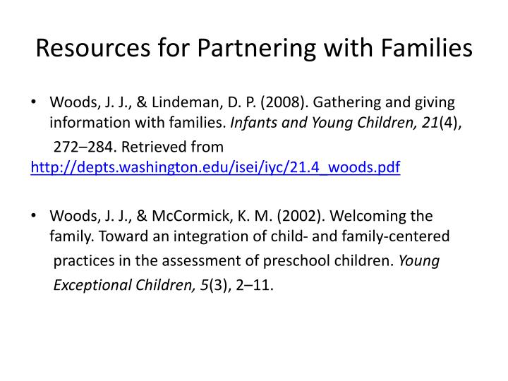 Resources for Partnering with Families