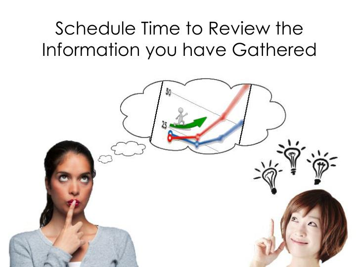 Schedule Time to Review the Information you have Gathered