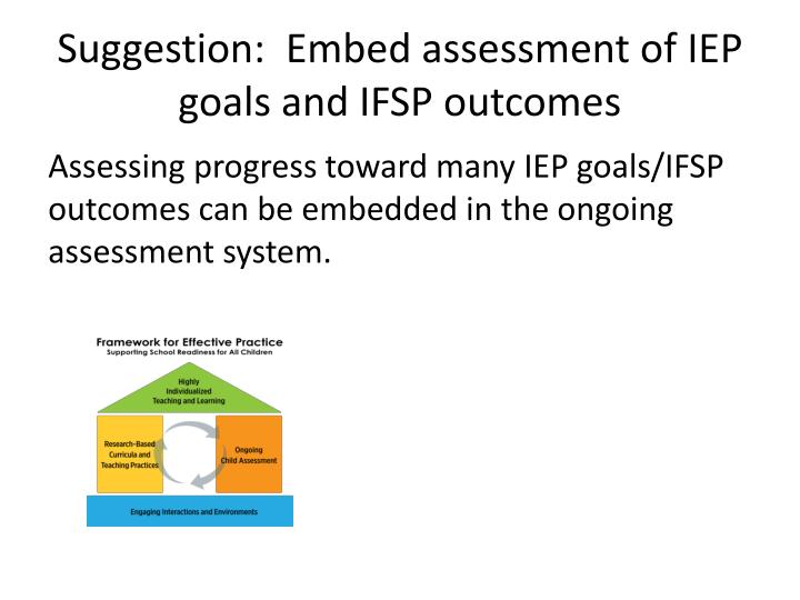Suggestion:  Embed assessment of IEP