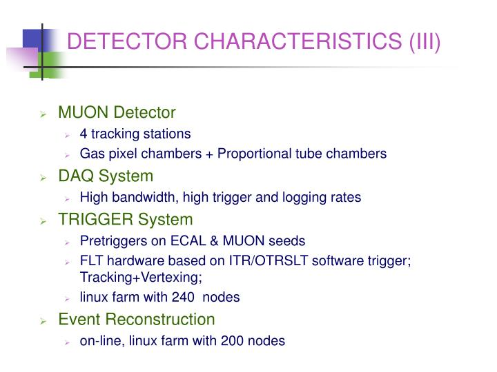 DETECTOR CHARACTERISTICS (III)