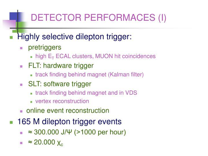DETECTOR PERFORMACES (I)