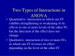 two types of interactions in anova
