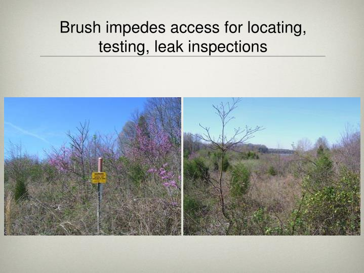 Brush impedes access for locating, testing, leak inspections