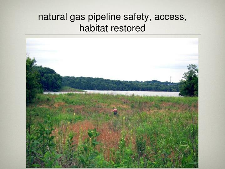 natural gas pipeline safety, access, habitat restored