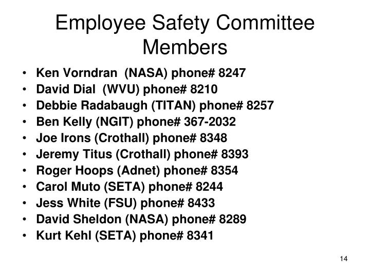 Employee Safety Committee Members