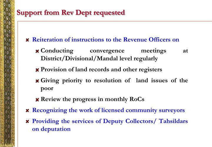 Support from Rev Dept requested