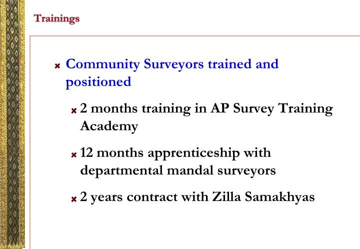 Community Surveyors trained and positioned