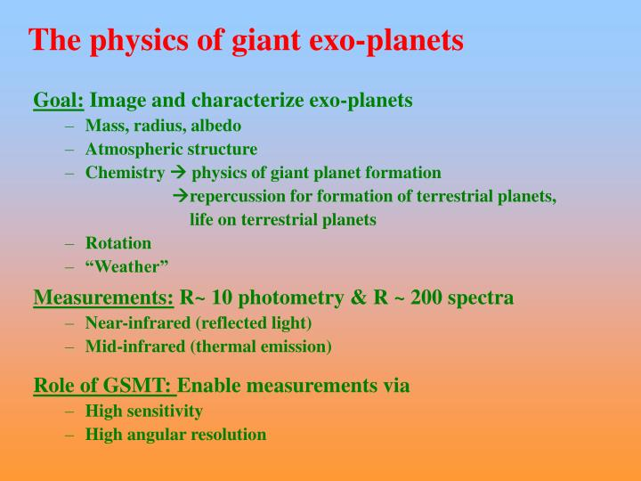The physics of giant exo-planets