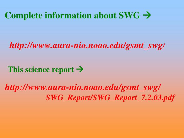 Complete information about SWG