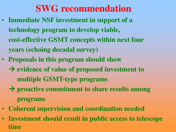 SWG recommendation
