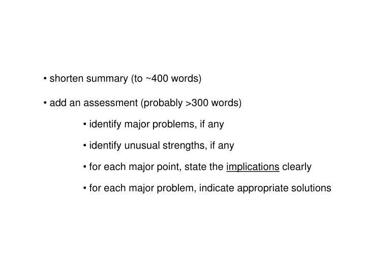 shorten summary (to ~400 words)
