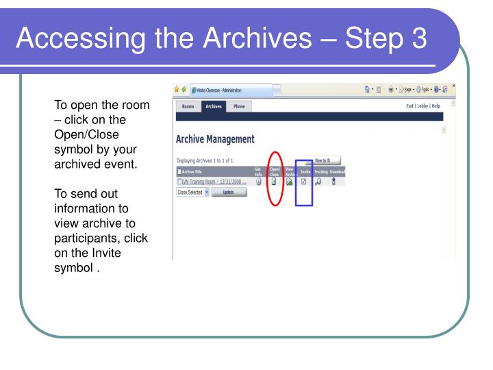 Accessing the Archives – Step 3