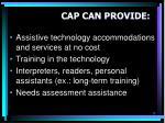 cap can provide