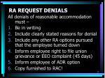 ra request denials