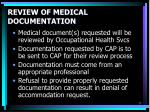 review of medical documentation