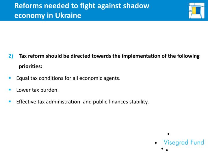Reforms needed to fight against shadow economy in Ukraine