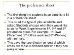 the preference sheet