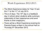work experience 2012 2013
