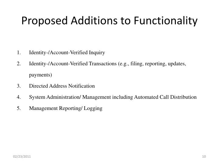 Proposed Additions to Functionality