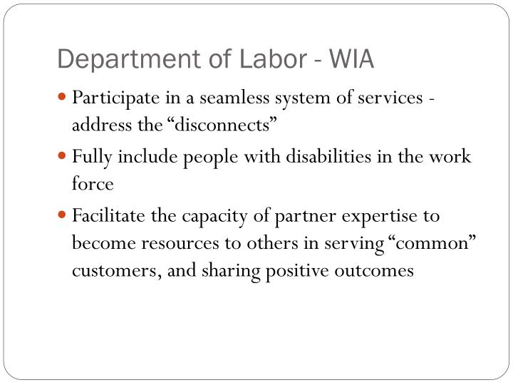 Department of labor wia