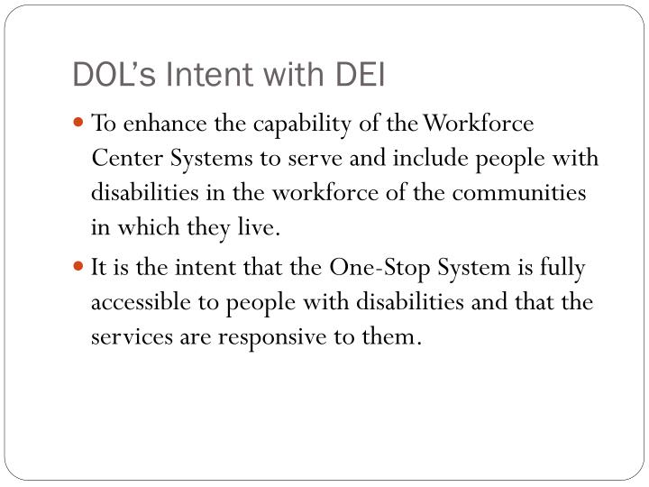 Dol s intent with dei