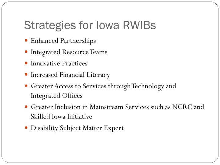 Strategies for Iowa RWIBs