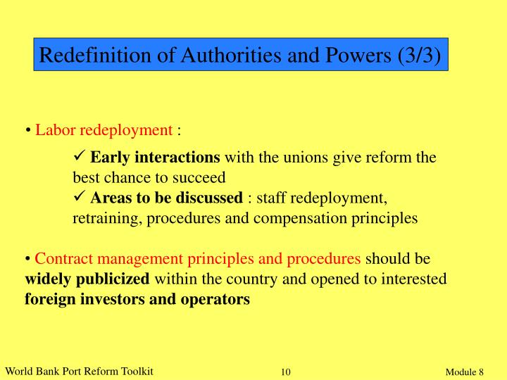 Redefinition of Authorities and Powers (3/3)