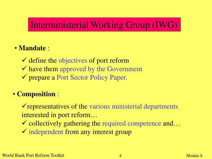 Interministerial Working Group (IWG)
