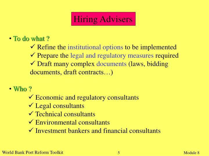 Hiring Advisers