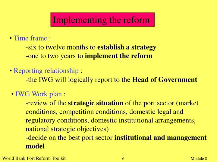 Implementing the reform
