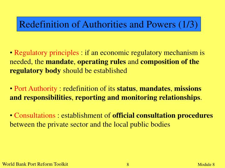 Redefinition of Authorities and Powers (1/3)