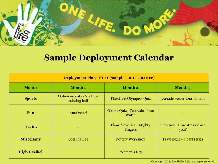 Sample Deployment Calendar